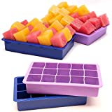 Absales Silicone Food Grade Ice Molds Cube Trays 15 Cubs per Tray