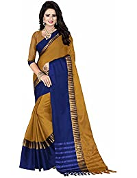 Saree For Women's ( V.H FASHION Cotton Silk Printed Saree With Blouse Color Mustard :: Blue Ideal For Women's...