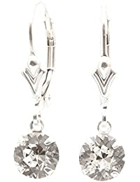 pewterhooter 925 Sterling Silver lever back earrings handmade with Diamond White crystal from SWAROVSKI®. London box.