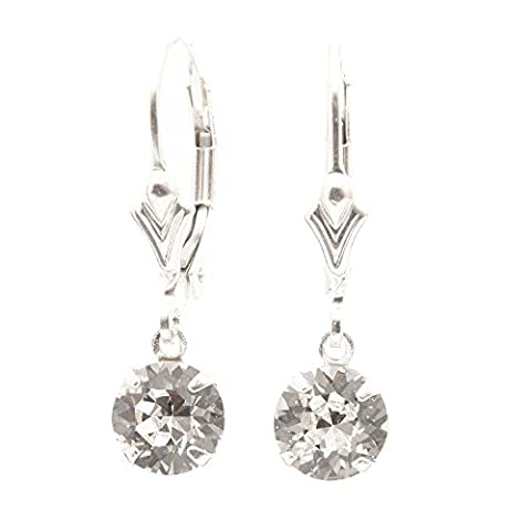 pewterhooter 925 Sterling Silver lever back earrings handmade with Diamond