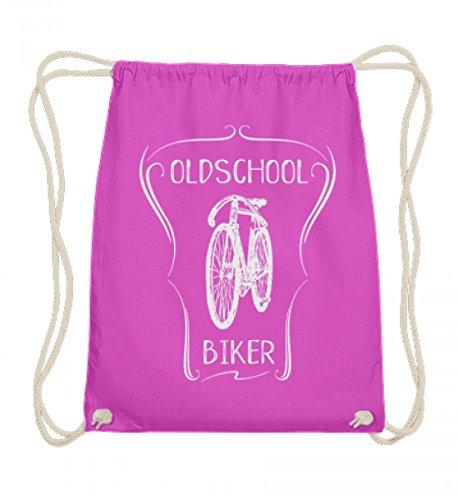 Hochwertige Baumwoll Gymsac - Oldschool Biker (hell) Drahtesel Fahrrad Fahrer - für alle, die mit Liebe ihr altes stylisches klappriges Rad fahren (Der Fahrer Plakat)