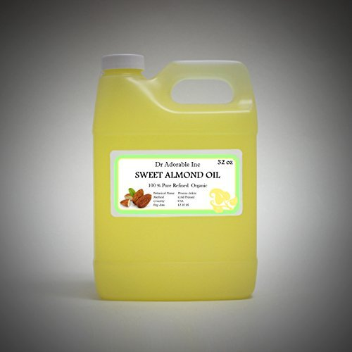 Sweet Almond Oil Organic Pure Cold Pressed by Dr.Adorable 32 Oz/1 Quart