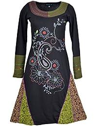 Damen langärmelige Kleid mit Blumenstickerei