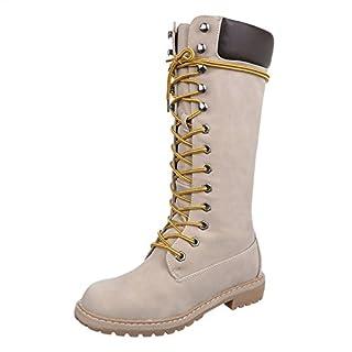 Schnürstiefel Damen-Schuhe Schnürstiefel Blockabsatz Schnürer Reißverschluss Ital-Design Stiefel Beige, Gr 40, 067H-Pg-
