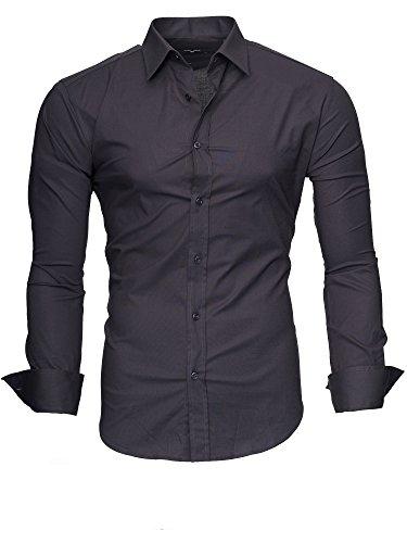 Kayhan Camicie Uomo Slim Fit Maniche Lunghe di ferro se necesario -Modello Plain 2017 Grey