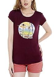 Spykar Womens Viscose Wine Regular Fit Tshirts (Large)