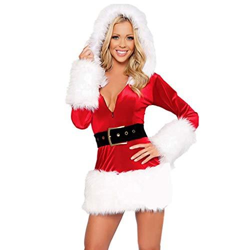 Vestido Con Capucha Mujer Disfraz de Mamá Noel para Navidad el Año Nuevo Fiesta de Cumpleaños Rendimiento Fannyfuny