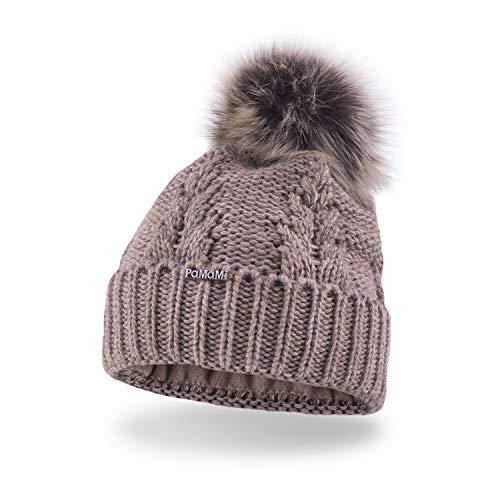 Pamami berretto 'slouch beanie' da donna 17527, caldo berretto a maglia con pompon e pile interno per l'inverno, grau, cappello:cappuccino