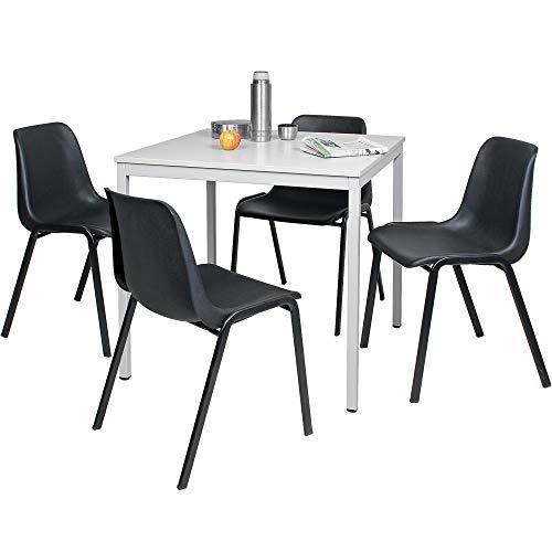 5-teilige Tischgruppe, bestehend aus 4 Formschalenstühlen und 1 Tisch, BxTxH 800 x 800 x 750 mm, lichtgrau/schwarz