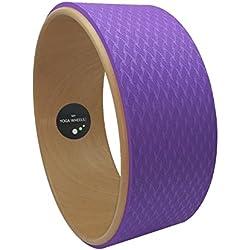 myyogawheels * NUEVO * efecto de madera Rueda de Pilates Yoga Prop, lomo de fitness-Tabla de equilibrio de madera-Asana poses de entrenamiento de Polo de estiramiento de flexión mientras, mujer hombre Infantil, Wood Effect, Purple Mat