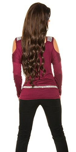 Party-Shirt mit Shoulder-Cutout und Strass-Applikation Bordeaux