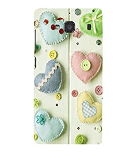 printtech Hearts Buttons Back Case Cover for Xiaomi Redmi 2S::Xiaomi Redmi 2::Xiaomi Redmi 2 Prime