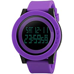 TTLIFE unisex watch mens waistwatchs Fashion Big Dial Sports Watches Silicone Watch Band Waterproof LED Digital Watch(purple)
