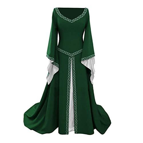 ZHAOXUAN Vintage Robe de soirée à Manches Longues Femme col V brodée pour Halloween