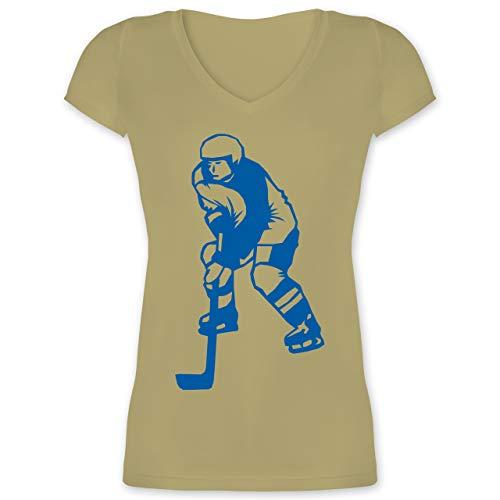 Eishockey - Eishockeyspieler blau - M - Olivgrün - XO1525 - Damen T-Shirt mit V-Ausschnitt