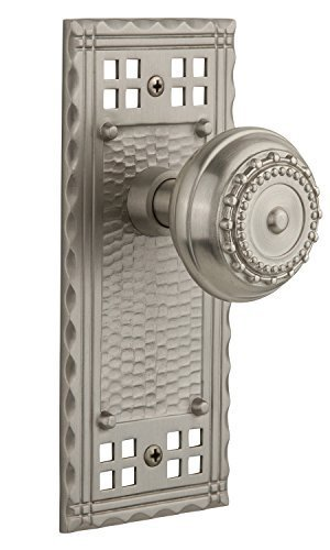 Nostalgic Warehouse Craftsman Plate with Meadows Knob Complete Passage Set, Satin Nickel by Nostalgic Warehouse - Nickel Passage Sets