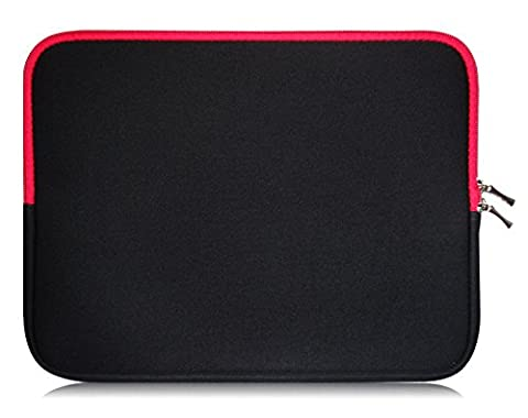 Sweet Tech Black / Red Neoprene Case Cover Sleeve suitable for Odys Ace / Aviator / Evo / Genio / Intellitab / Motion / Opos / Oxygen 7 inch Tablet PC