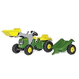 Rolly-Toys-023110-Traktor-rollyKid-John-Deere-mit-Frontlader-rollyKid-Lader-Anhnger-rollyKid-Trailer-Motorhaube-ffenbar-geeignet-fr-Kinder-ab-25-Jahren-Farbe-Grn