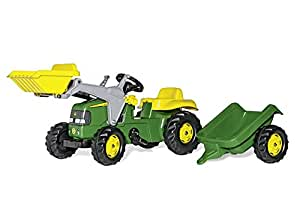 John Deere Ride-on Tractor with Loader and Detachable Trailer