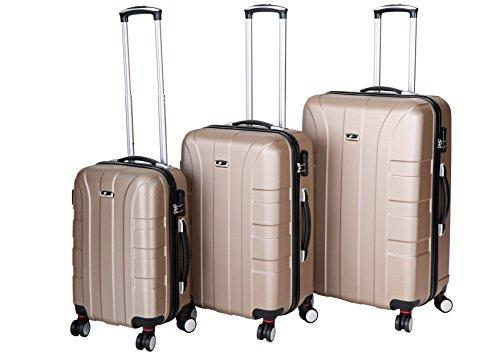 P-Collection Kofferset Hartschale 3-teilig Koffer Trolley Handgepäck Reisekoffer Hartschalenkoffer M - L - XL-3er Set 5 Farben (3er Set, Champagner)
