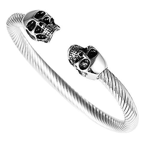 DonDon Armband-Ring aus Edelstahl mit Totenköpfen (Männerschmuck Armband)
