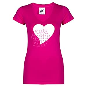 Yogistar Yoga-t-Shirt Yoga Opens Your Heart – Pink