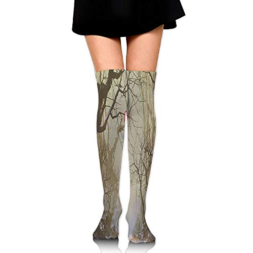 Juzijiang Boy Looking Up Red Balloon Stuck On Tree Branch In Foggy Forest Picture Women's Fashion Over The Knee High Socks (65cm) (Kids Lace Boot Socken)