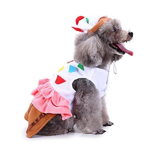 Coppthinktu Cupcake Hundekostüm für Kuchen und Dessert für Hunde und Katzen, Halloween-Kostüm, Large, Mehrfarbig