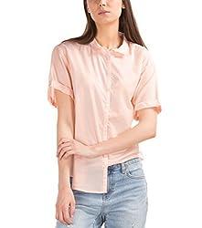 GAP Womens Roll Cuff Shirt (63951564801_Silk Powder_X-Small)