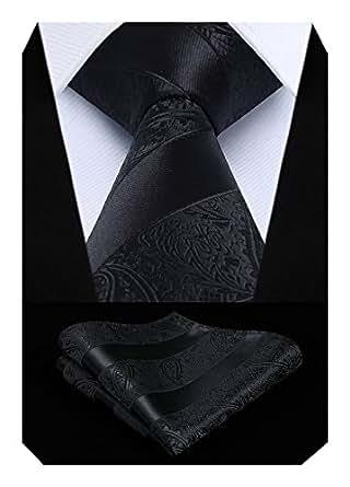 HISDERN Extra Long Floral Paislry Tie Handkerchief Men's Necktie & Pocket Square Set (Black)