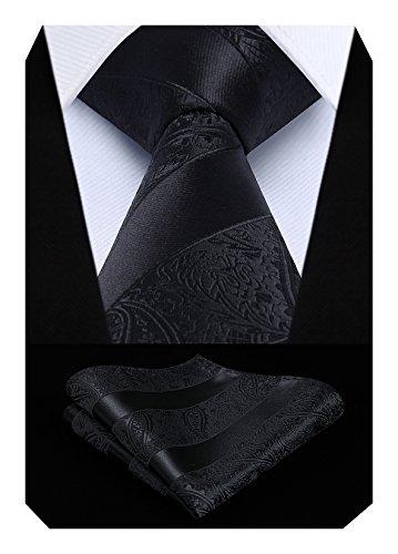 Hisdern Extra lange Blumen Paisley Krawatte Taschentuch Herren Krawatte & Einstecktuch Set Schwarz
