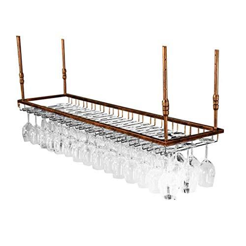 POLKMN Flaschenregal Weinregale Kelch Stemware Weinglas Racks Decke montiert hängenden Weinflaschenhalter Metallgestell (Color : Bronze, Size : 60 * 35cm) Stemware Fall