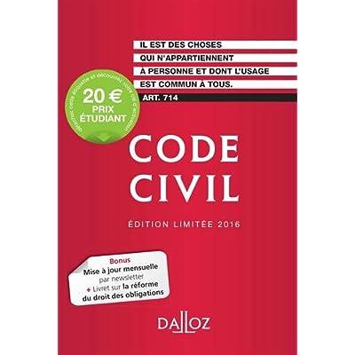 Code civil 2016. Édition limitée - 115e éd.