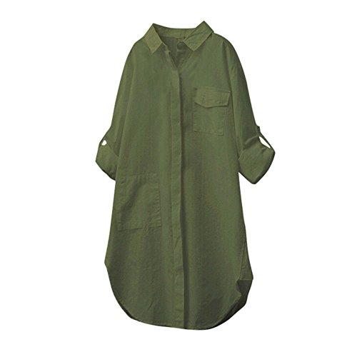 Beikoard Señoras algodón cáñamo Camisa botón de Manga Larga, con Estilo de Manga Larga Camisa Grande