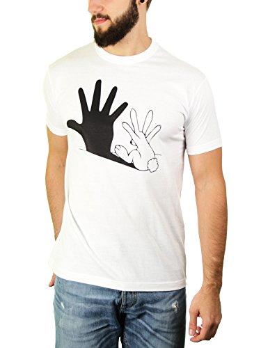 Im Schatten des Hasen - Herren T-Shirt von Kater Likoli Weiß