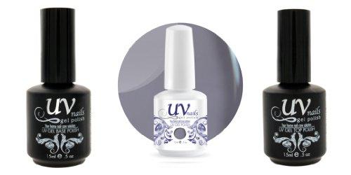 UV-Nails Vernis a Ongles Soak-Off Gel 15ml Lady Lavender G28+Base & Top Coat+Polissoir & Lime a Ongles Aviva