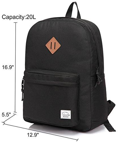 Imagen de vaschy  ligera, 18 litros básica impermeable plegable viaje daypack para deportes de senderismo, escuela primaria bolsa de libros con dos bolsillos de botella negro alternativa