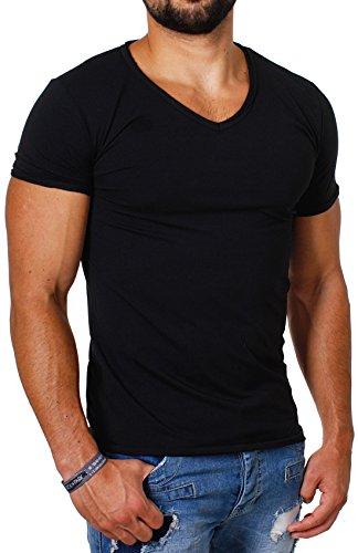 Herren Vintage Schwarz T-shirt (CARISMA Herren Uni Basic T-Shirt mit tiefem V-Ausschnitt Vintage Look Kragen Effekt einfarbig körperbetonte Dehnbare Passform, Grösse:XS, Farbe:Schwarz)