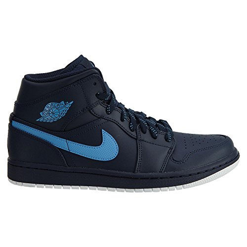 Nike Herren Air Jordan 1 Mid Basketballschuhe obsidian-university blue-white (554724-405)