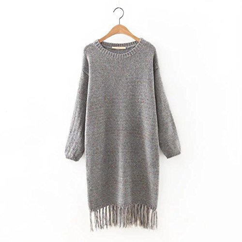 YLSZ-Sweater Dresses Western Style Color Mixer Edging Sweater Dresses Women, Navy Blue Are Code Gray are code