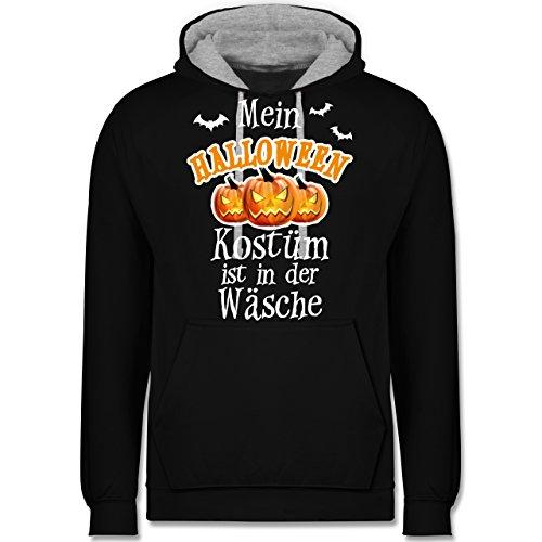 loween Kostüm ist in der Wäsche - 4XL - Schwarz/Grau meliert - JH003 - Kontrast Hoodie (4x Kostüme Für Halloween)