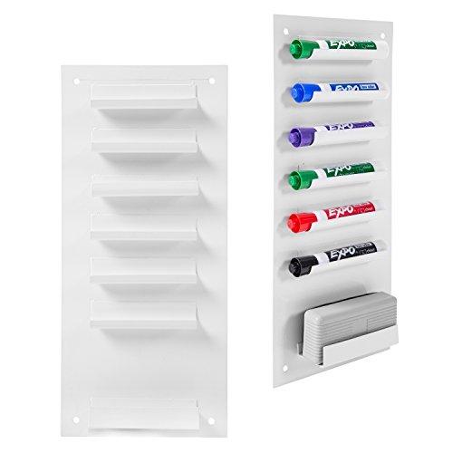 and montiert Metall Dry Erase Marker und Radiergummi Halter/vertikaler Aufbewahrung System White, Set of 2 ()