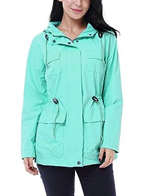 Vessos Women Hooded Waterproof Outdoor Raincoat Rainwear Rain Jacket Windbreake