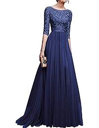 35100892f9c90 Suncaya Donna Elegante Vestiti da Matrimonio Pizzo Abito Chiffon Lunghi  Vestito Cocktail