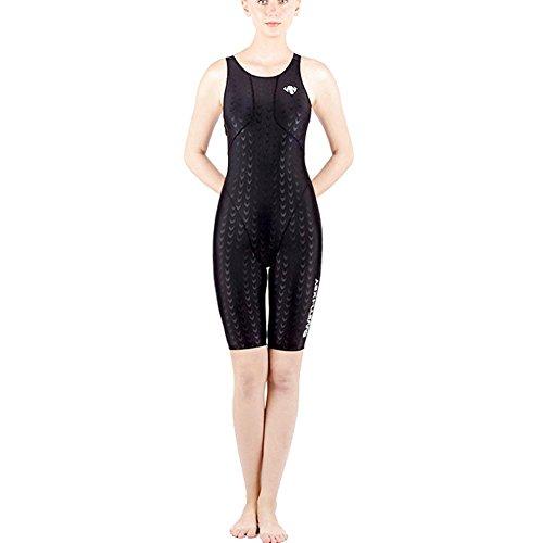 Axjzh Frauen wettbewerbsfähig Badeanzug Ausdauer Schwimmen Kostüm Legsuit EIN Stück mit Brust Pad, Black, 5XL (Rash Guard Mit Brust-pad)