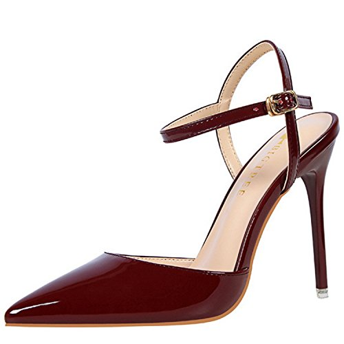 Azbro Women's Pointed Toe Ankle Strap High Heels Slingback Sandals Burgundy