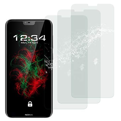 Baluum 3X Panzerglas für Nokia 6.1 Plus (Nokia X6) Klare Bildschirmschutzfolie Panzerglasfolie 9H Echt Glas-Folie Clear Tempered Glass Screen Protector Glas Durchsichtige Schutzfolie (Glasfolie-Klar 3X)