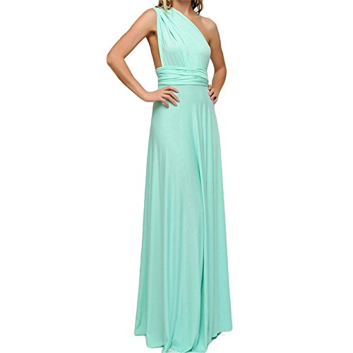 Frauen Sexy Lange Abendkleid Elegant V-Ausschnitt Bodenlangen Multi-Way Party Cocktailkleid Brautjungfer Kleider (M, Türkis)