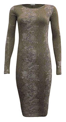Fashion 4 Less - Robe - Midi - Manches Longues - Femme Vert - Kaki