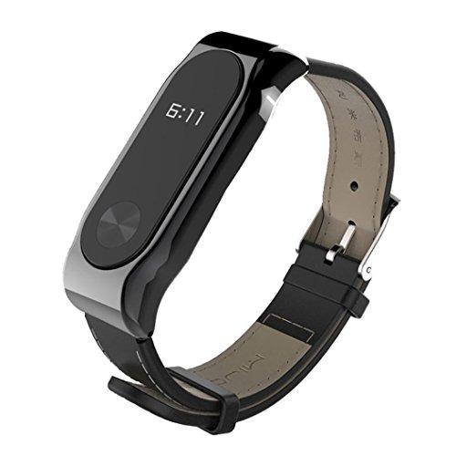 Para correa de repuesto magnética elegante Xiaomi Mi band 2, correa de piel de reloj de pulsera inteligente Y56 Mijoas para Xiaomi Mi band 2, negro